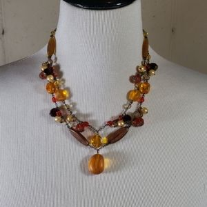 Earth tone & pearls beaded two strand necklace